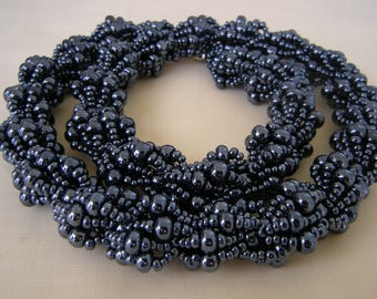 Gunmetal Beaded Necklace/ Gunmetal Double Spiral Rope/ Gunmetal Beaded Choker