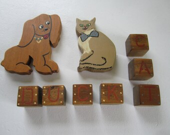 hand painted wood figures, cat and dog, blocks, wood toys, wood animals,nursery decor, wood blocks, country shadow box decor, 1980s decor
