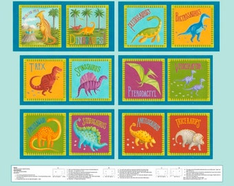 """Blank Quilting - Dino Party - 34-1/2"""" x 44"""" Fabric Story Book Panel - Fabric by the Panel 9058P-70"""