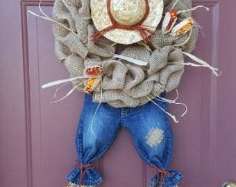 Fall wreath, Fall Burlap Wreath, SALE SAVE 15%, Thanksgiving Wreath, Scarecrow wreath, Burlap wreath, burlap, rustic, fall wreath,