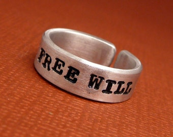 Supernatural Inspired - Team Free Will - A Hand Stamped Aluminum Ring