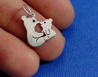 Kissing Bears Charm - Sterling Silver Mama and Baby Bear Charm for Necklace or Bracelet