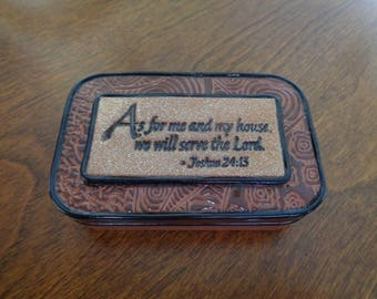 Prayer box, Scripture stamping in bronze and copper textured polymer clay