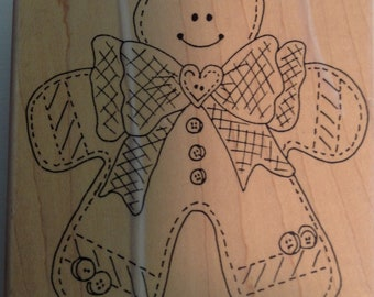Gingerbread boy Rubber Stamp