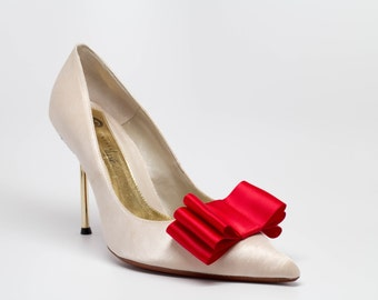Red Satin Ribbon Bow Shoe Clips Set Of Two, More Colors Available
