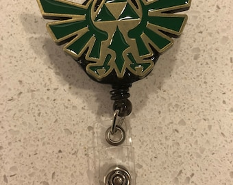 Triforce Legend of Zelda Inspired Badge Reel/Retractable Badge Pull