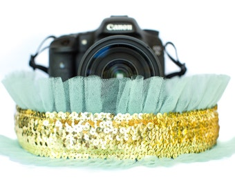 Sequin Camera Strap Gold with Mint Tulle
