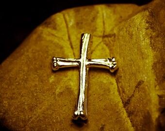 Gothic Cross Pendant   Small Silver Cross   Morbid Jewelry   Goth Pendant   Cross Charm   Silver Bone Pendant   Oxidized Silver Mens Cross