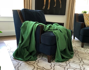 XL Kelly Green Linen Throw Blanket - Minimalist Bedding - Made to Order in the USA
