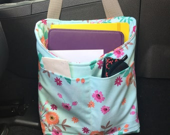 Adjustable Car Organization Caddy- Light Blue Floral