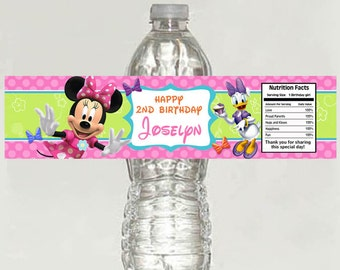 Minnie Mouse Bowtique Birthday Water Bottle Labels - Printable