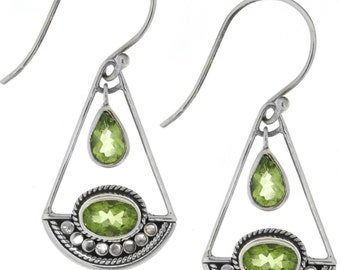 Silver Peridot Earrings, Bali Sterling Silver Peridot Earrings,  Sterling Silver .925 Bali  Peridot Earrings,  August Birthstone Earrings