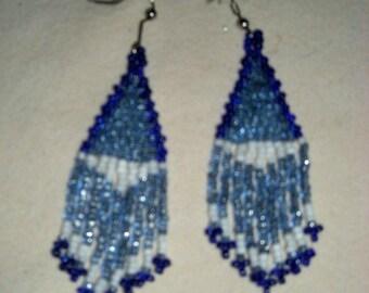Blue Shimmer Beaded Earrings