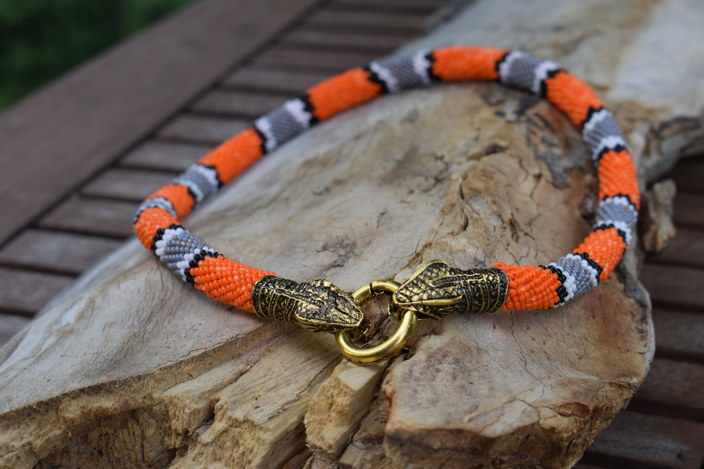 Perlenkette häkeln Schlange Schlange Kopf Schlange