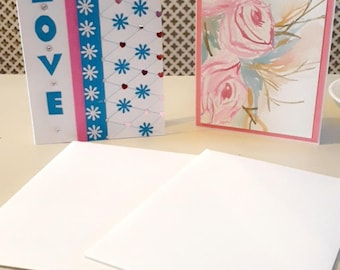 2 handmade cards a watercolour & love card with gems, pink ribbon, confetti