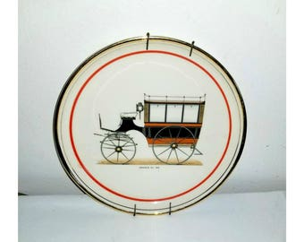 Vintage Hyalyn Porcelain Omnibus Collectible Plate, Hyalyn Collectors Plate,Omnibus, Vintage Car, Collectible Plate,Man Cave, Car Enthusiast