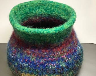 Large Felted Wool Bowl - Functional Art Pod -'Emerald Eyes'
