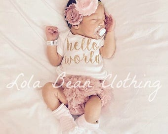 Hello World Take Home Outfit Baby Girl Coming Home Outfit Newborn Outfit