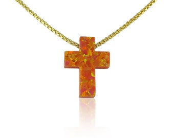 Orange Cross Opal Necklace • Very Rare! One of a Kind Opal on Etsy • Waterproof Gold Plated 925 Sterling Silver Chain