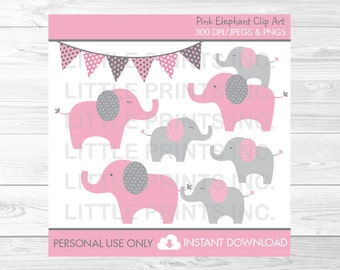 Pink Elephant Baby Shower Clipart / Elephant Baby Shower / Pink & Gray Elephant / PERSONAL USE Instant Download A334