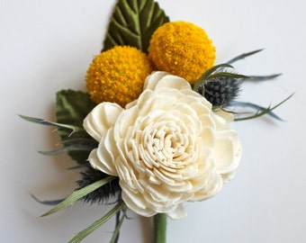 Sola Boutonniere // Billy Button and Thistle // Craspedia // Flower Boutonniere