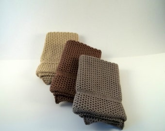 Dishcloths Knit in Cotton in MissionOak Mint and Taupe