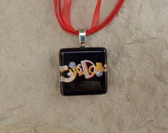 Broadway Musical Guys and Dolls Glass Pendant and Ribbon Necklace