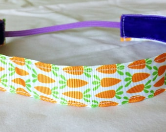 NOODLE HUGGER Non slip ribbon headband - Easter bunny carrots - 7/8 inch (running, working out, everyday: women and girls)