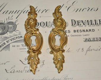 Vintage Pair French Brass Keyholes Vertical Escutcheons Hardware