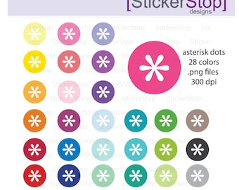 Asterisk Dots Clipart 28 colors, PNG Digital Clipart - Instant download - icons asterisk printable round asterisk