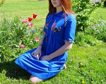 Boho Dress, UK8, 1970s Dress, Hippie Dress, Festival Dress, Petite Dress, Vintage Dress, Bohemian Dress, Vintage Clothing, Blue Dress, Gypsy