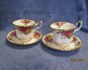Old Country Roses Cup and Saucer from Royal Albert 2 Sets Marked 1962