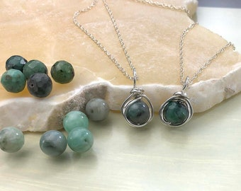 Natural Emerald Necklace, May Birthstone Necklace, Smooth or Faceted, Green Stone, Sterling Silver, Emerald Pendant, Each Gem is Different