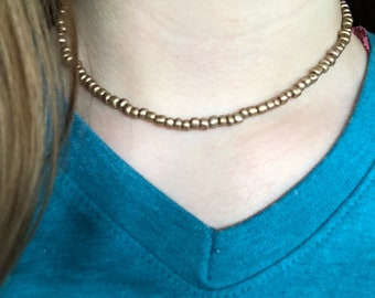 Bronze seed bead necklace