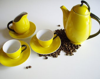 Vintage, Art Deco, Coffee Set, Espresso Set, Porcelain, Black and Yellow, Demitasse, Hand Painted, Coffee Pot, Creamer, Cups and Saucers