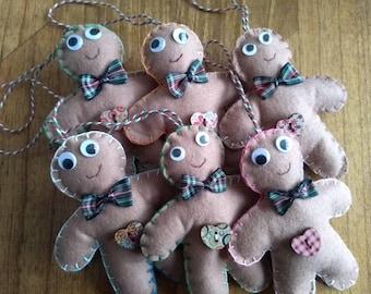 Handsewn felt gingerbread men