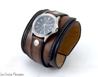 Leather cuff Watch -- Premium cowhide Leather -- Watch for Men