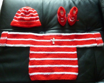 sweater, booties and 0/3 months