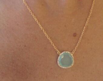 Aqua chalcedony necklace. Aqua stone necklace. Sterling silver aqua chalcedony necklace plated in gold. High quality silver necklace.