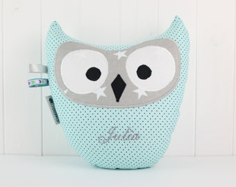 Sky Blue Gray Owl, Starry Owl Pillow, Custom Owl Pillow, Embroidered Owl Plush, Keepsake Owl Plushie, Pastel Owl Pillow, Nursery Gift