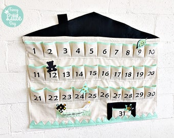 Customizable fabric calendar: adorable House with 31 boxes for use all year round or advent calendar. Party supplies