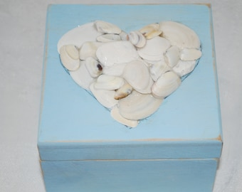 Beach in  Box, Beach box with seashell heart, keepsake Beach Box