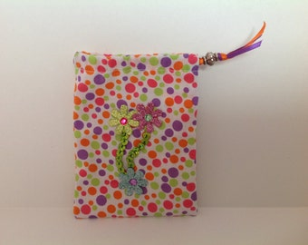 Colorful Polka Dot Trinket Bag 4x51/2inches with ribbon draw string closure and flower ornamentation