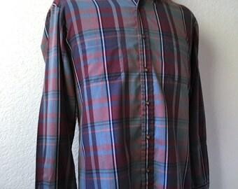 Vintage Men's 80's Arrow Shirt, Plaid, Long Sleeve, Button Down (L)