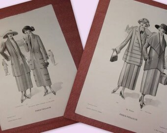 2 large prints of old fashions, 1922, plus size