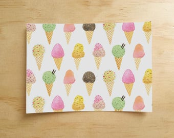 Ice Cream Pattern Postcard