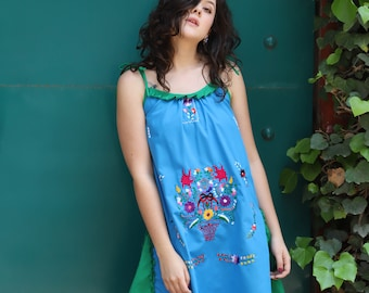 Turquoise blue with green one of a kind Hand Embroidered Mexican Spaghetti strapped dress