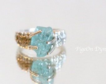 """Apatite Ring/ Raw Apatite Ring/ Large Raw Aqua Apatite Quartz """"Kasen"""" Solitaire Silver Ring size 4.25*Ready to Ship One of a Kind Ring"""