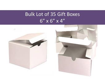 35x White Gift Boxes - Bulk Lot of 35 6 x 6 inch Gift Boxes - Tuck Tab Gift Boxes, Candle Boxes Wedding Favor Gift Boxes, Party Favors Boxes