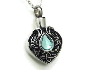 Aquamarine Blue Color CZ Tear Urn Necklace    March's Birthstone    Ashes Keepsake    Engraveable